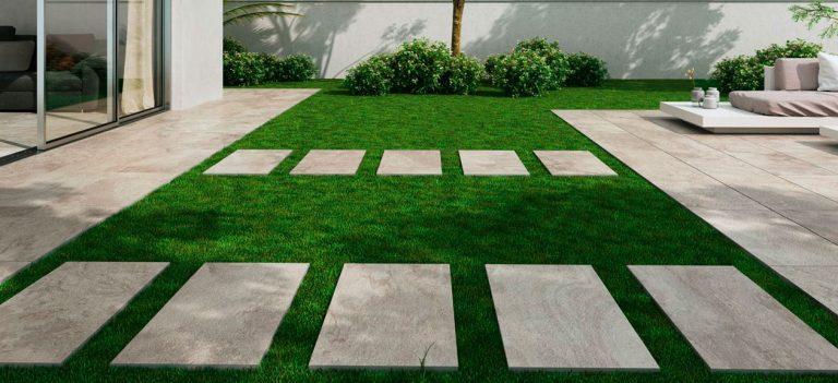 laying porcelain tiles outside