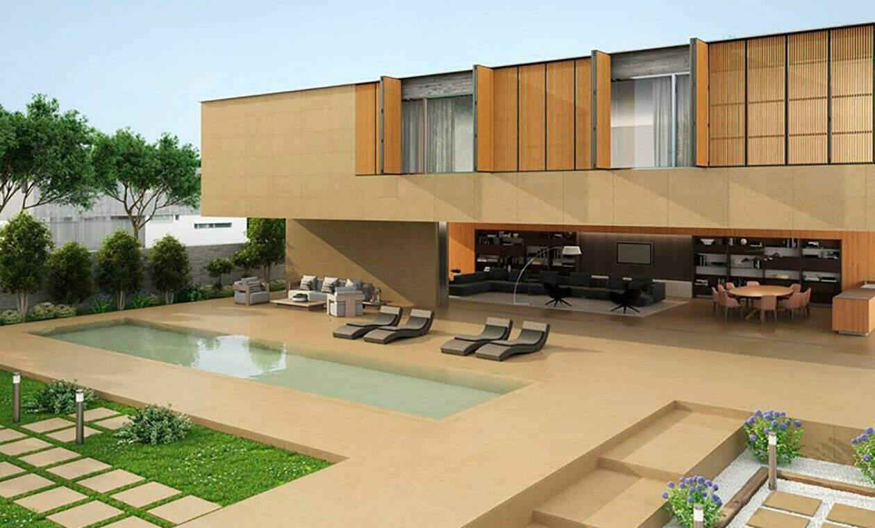 terraza con suelos porcelánicos