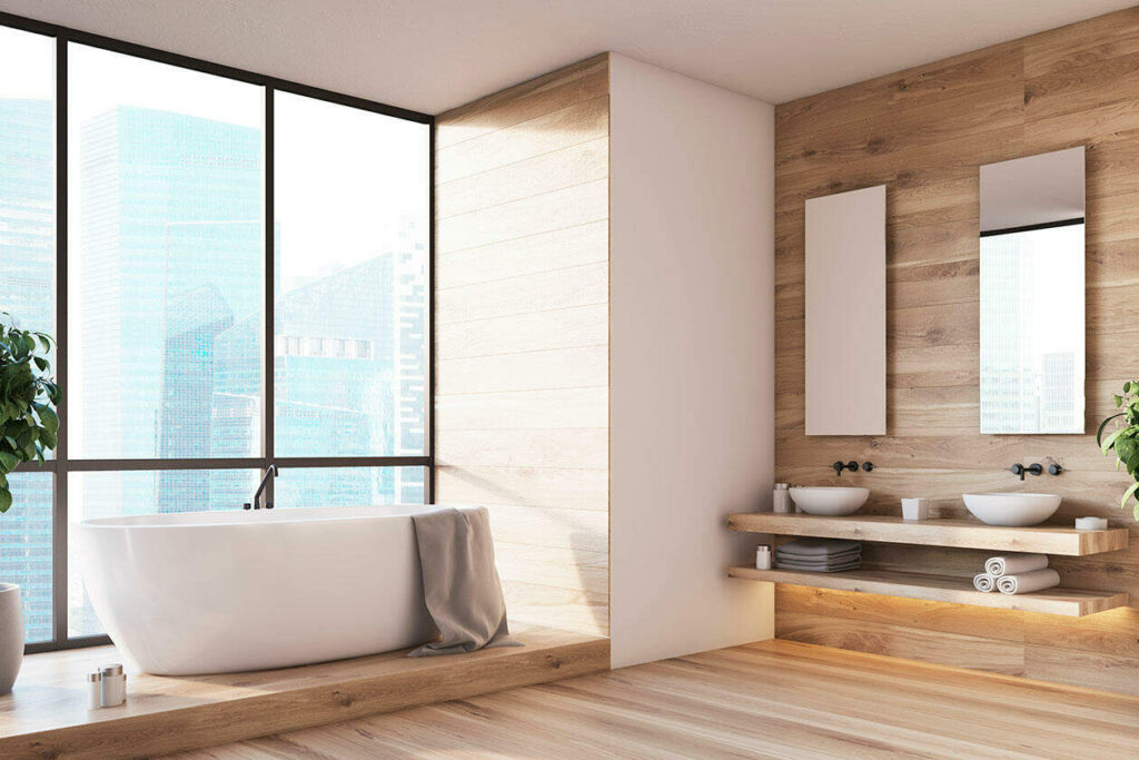 baño de azulejo imitación madera
