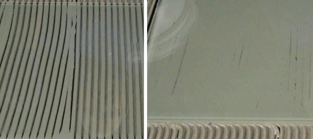 Breng zowel op de tegel als op de ondergrond met de lijmkam aan voor een dubbele verlijming.