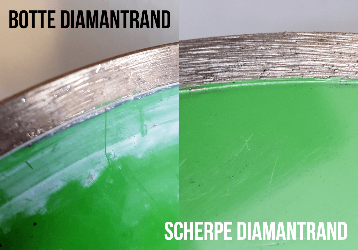 Het verschil tussen een bot en scherp diamantzaagblad is te voelen en te zien. Opscherpen is bij ieder blad nodig.
