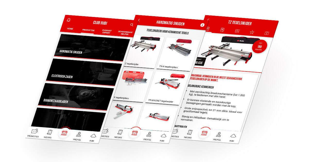Met de Club RUBI APP browse je gemakkelijk door de online catalogus .