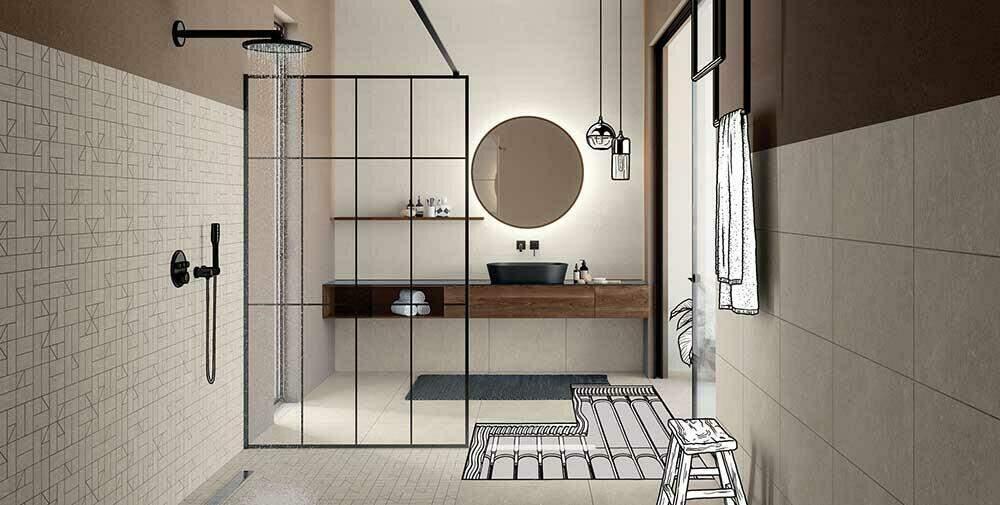 De combinatie van tegels en vloerverwarming in bijvoorbeeld de badkamer zorgt voor comfort.
