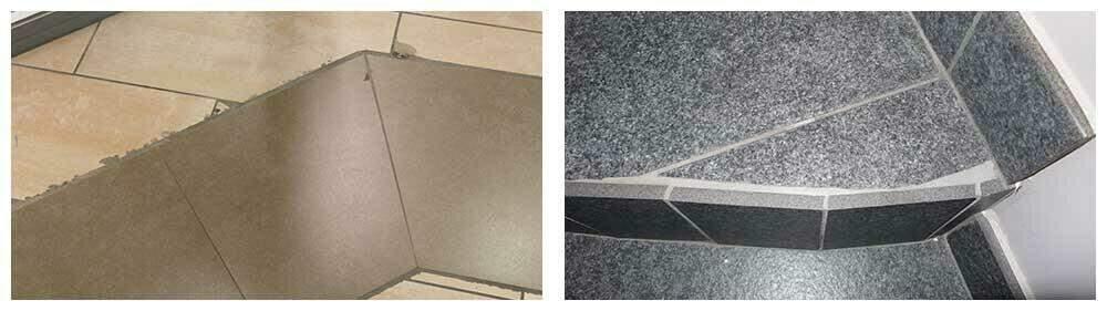 Voorbeelden van tegelwerken waarbij door een gebrek aan vakmanschap en de juiste materialen de afwerking verre van perfect is.