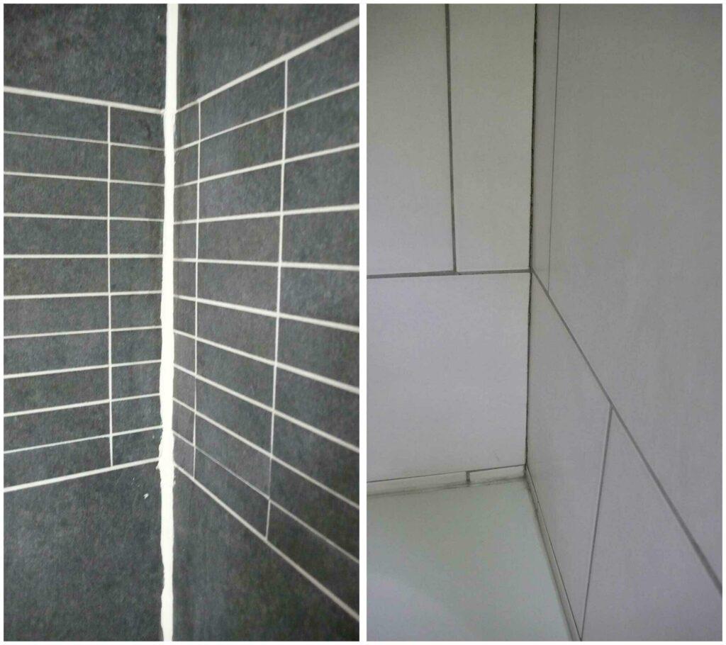 Voorbeelden van tegelwerk waarbij de tegels niet even groot gesneden of gezaagd zijn.