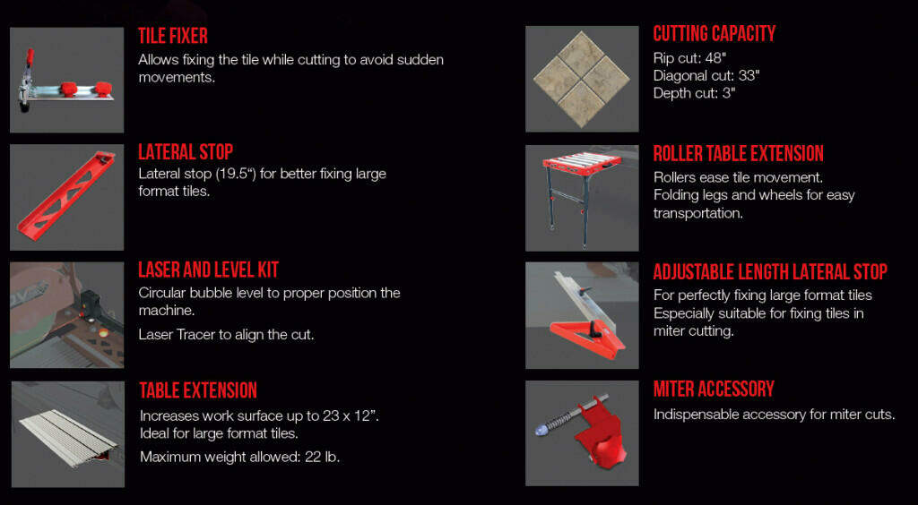 The best tile saw - RUBI DC-250 Accessories