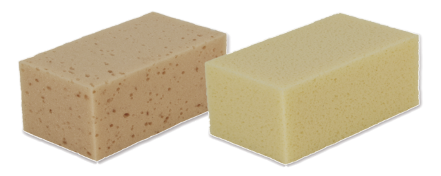 Sponges for cleaning ceramic materials